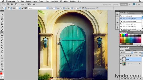 Creating an underpaint layer to remove photographic detail: Photoshop CS5: Painting with the Mixer Brush
