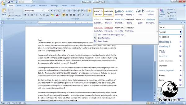 Welcome: Word 2007: Styles in Depth