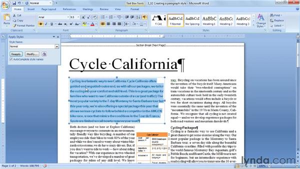 Creating a paragraph style by example: Word 2007: Styles in Depth