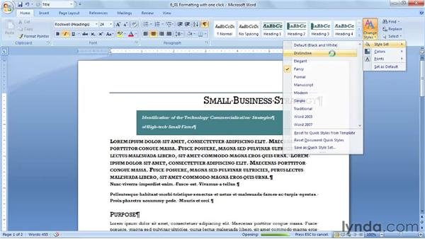 Formatting an entire document with one click: Word 2007: Styles in Depth