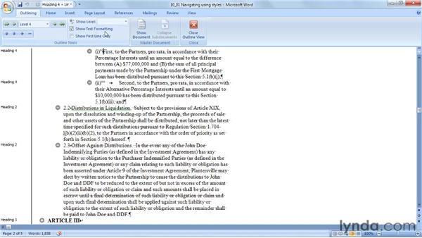 Navigating using styles: Word 2007: Styles in Depth