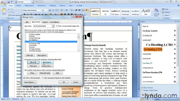 Editing, hiding, recommending, and restricting styles: Word 2007: Styles in Depth