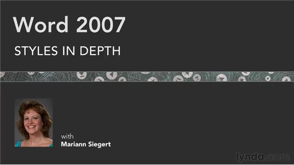 Goodbye: Word 2007: Styles in Depth
