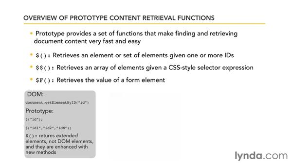 Overview of Prototype content functions: Prototype and script.aculo.us Essential Training