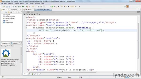 Looking up elements with $(): Prototype and script.aculo.us Essential Training