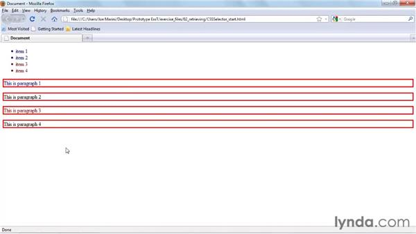 Using the $$() selector function: Prototype and script.aculo.us Essential Training