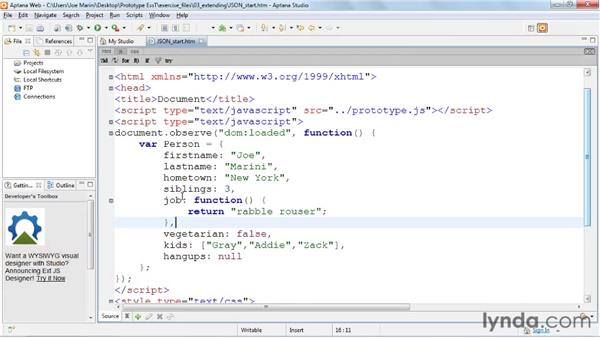 Using JSON support: Prototype and script.aculo.us Essential Training