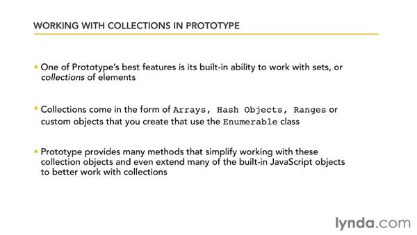 Understanding the collection features: Prototype and script.aculo.us Essential Training