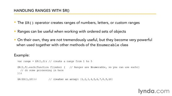 Handling ranges with $R(): Prototype and script.aculo.us Essential Training