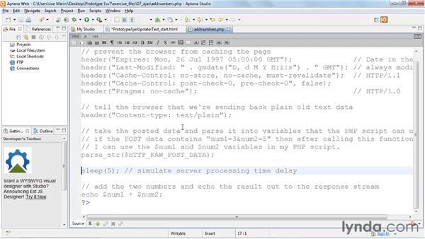 Using the Ajax.Updater: Prototype and script.aculo.us Essential Training
