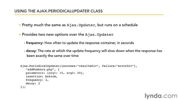 Handling periodic updates: Prototype and script.aculo.us Essential Training
