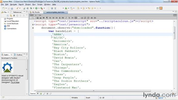 Using autocomplete: Prototype and script.aculo.us Essential Training