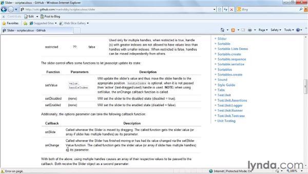 Using sliders: Prototype and script.aculo.us Essential Training