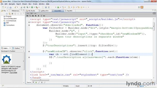 Filtering data: Prototype and script.aculo.us Essential Training