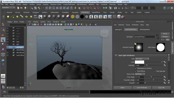 Previewing lighting and shadows : Lighting and Rendering with mental ray in Maya