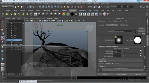 Creating raytraced shadows: Lighting and Rendering with mental ray in Maya