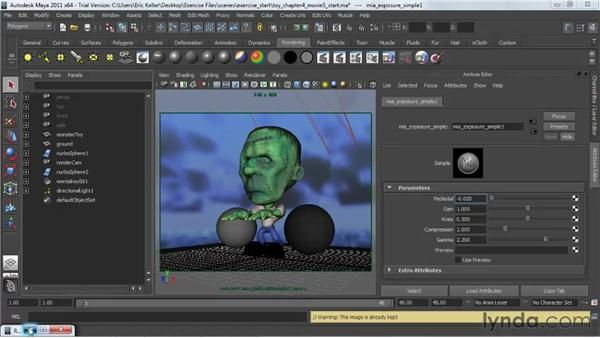 Tone mapping: Lighting and Rendering with mental ray in Maya
