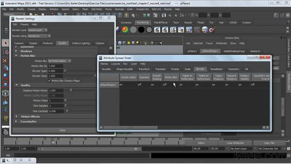 Adjusting motion blur: Lighting and Rendering with mental ray in Maya