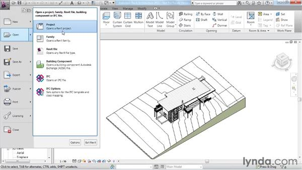 Using the Recent Files screen and the Application menu: Revit Architecture 2011 Essential Training