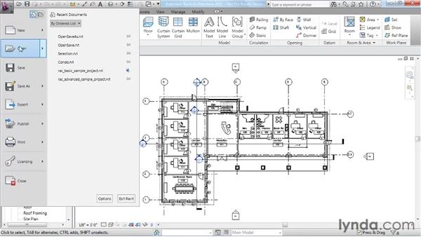 Opening and saving projects: Revit Architecture 2011 Essential Training
