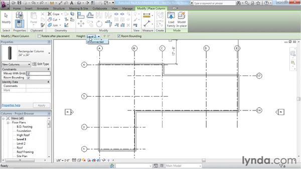 Adding columns: Revit Architecture 2011 Essential Training