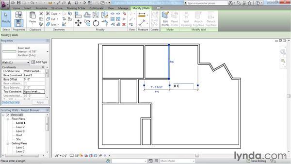 Locating walls: Revit Architecture 2011 Essential Training