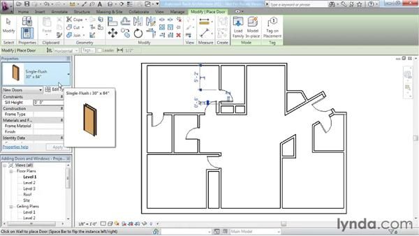 Adding doors and windows: Revit Architecture 2011 Essential Training
