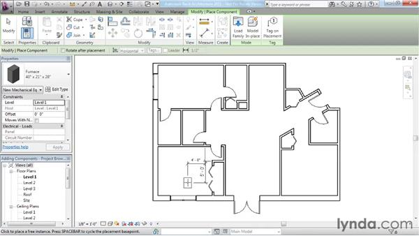 Adding plumbing fixtures and other components: Revit Architecture 2011 Essential Training