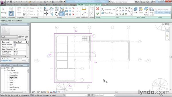 Working with footprint roofs: Revit Architecture 2011 Essential Training