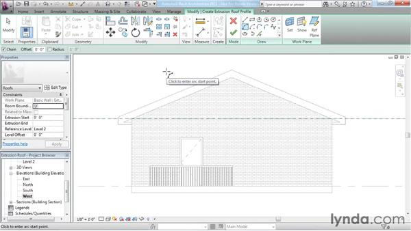 Working with extrusion roofs: Revit Architecture 2011 Essential Training
