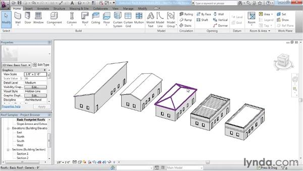 Roof modifications and examples: Revit Architecture 2011 Essential Training