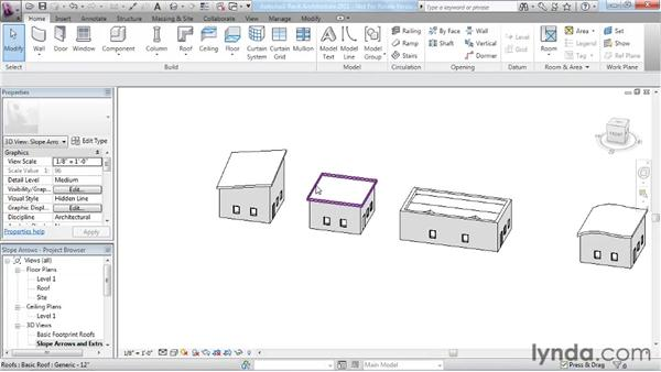 Working with slope arrows: Revit Architecture 2011 Essential Training