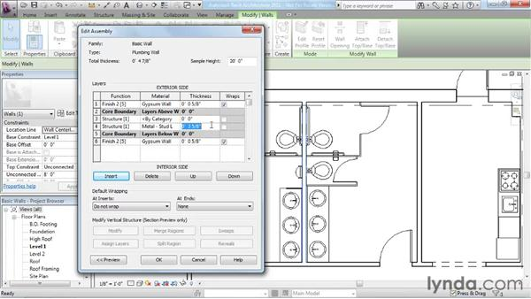 Creating a custom basic wall type: Revit Architecture 2011 Essential Training