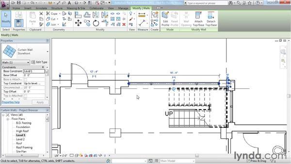 Adding curtain walls: Revit Architecture 2011 Essential Training