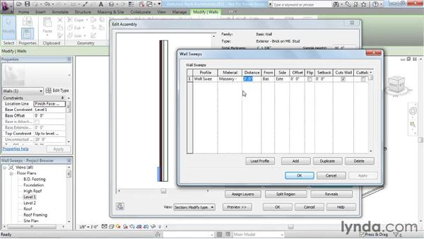 Creating wall sweeps: Revit Architecture 2011 Essential Training