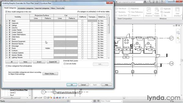Working with visibility/graphic overrides: Revit Architecture 2011 Essential Training