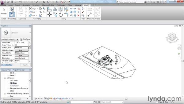 Using cutaway views: Revit Architecture 2011 Essential Training
