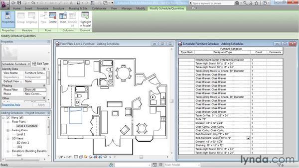 Adding schedules: Revit Architecture 2011 Essential Training