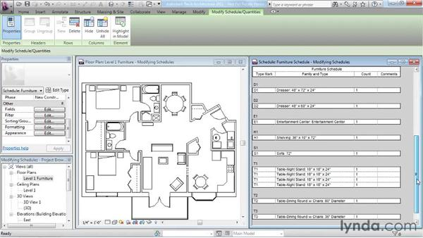 Modifying schedules: Revit Architecture 2011 Essential Training