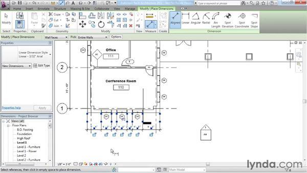 Adding dimensions: Revit Architecture 2011 Essential Training