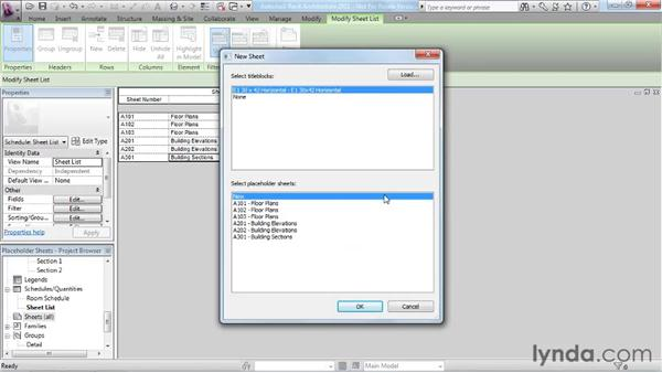 Working with placeholder sheets: Revit Architecture 2011 Essential Training