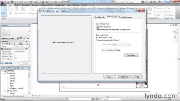 Outputting sheets to a DWF file: Revit Architecture 2011 Essential Training