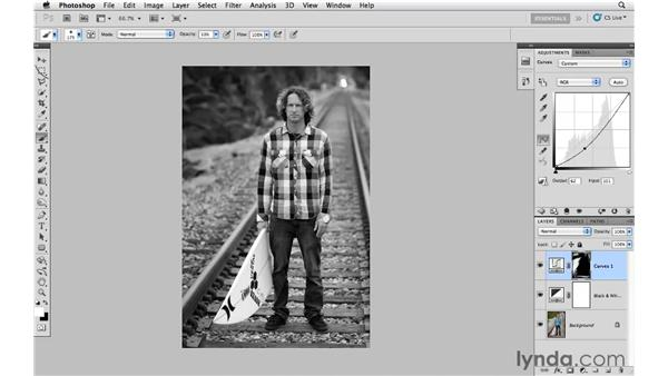 Improving black-and-white images with curves and masking: Photoshop CS5: Creative Effects