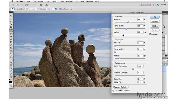 Using Shadow/Highlights to improve exposure: Photoshop CS5: Creative Effects