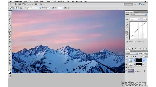 Modifying the color and tone of the mountains: Photoshop CS5: Creative Effects