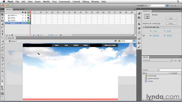 Importing an image: Creating a First Web Site with Flash Professional CS5