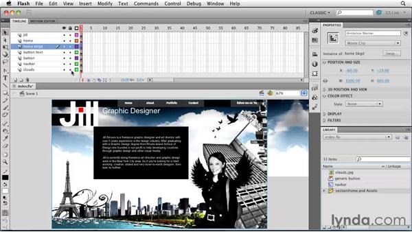 Importing Photoshop files: Creating a First Web Site with Flash Professional CS5