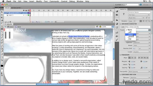 Formatting text using the Text Layout Framework: Creating a First Web Site with Flash Professional CS5