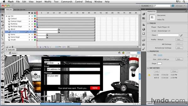 Using the Timeline: Creating a First Web Site with Flash Professional CS5