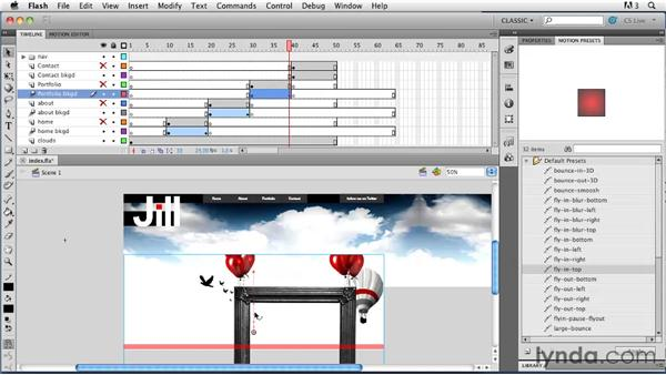 Adding preset animation: Creating a First Web Site with Flash Professional CS5